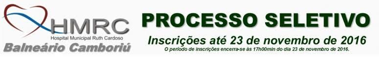 Processo Seletivo Hospital Ruth Cardoso de Balneário Camboriú - Edital 002/2016
