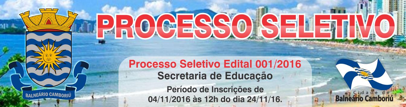 Processo Seletivo Secretaria da Educação - Magistério - edital 001/2016