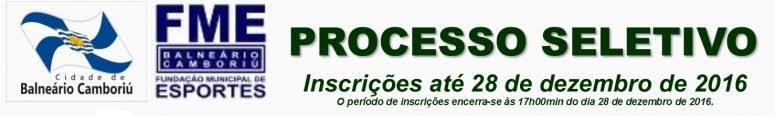 Processo Seletivo Fundação Municipal de Esportes de Baln. Camboriú - Edital 07/2016